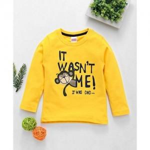 Babyhug Yellow Cotton Full Sleeves Cotton Tee Monkey Print