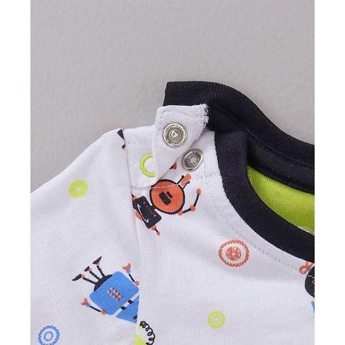 Babyoye White Cotton Full Sleeves Tee Alien Print