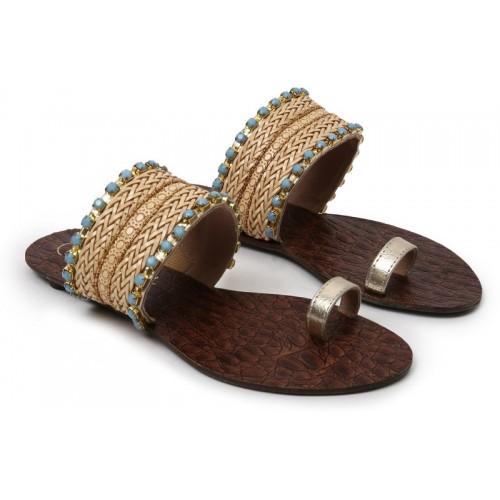 Catwalk Women Beige Woven Design One Toe Flats