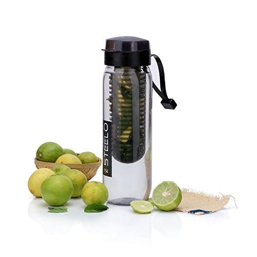 Steelo Black Plastic Fruit Infuser Bottle