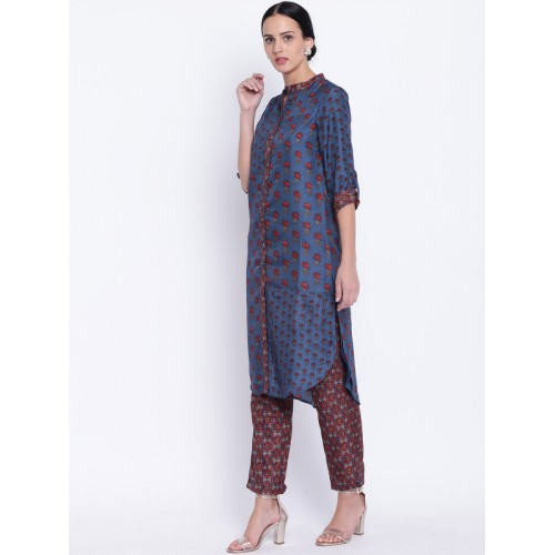 Biba Blue & Brown Printed High Low Salwar Kameez Dupatta