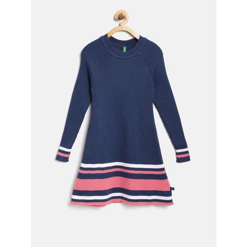 29b5cca3090 ... United Colors of Benetton Girls Navy Blue Self-Design Sweater Dress ...