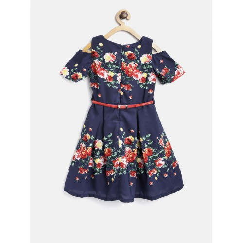 Peppermint Girls Navy Floral Print Fit & Flare Dress