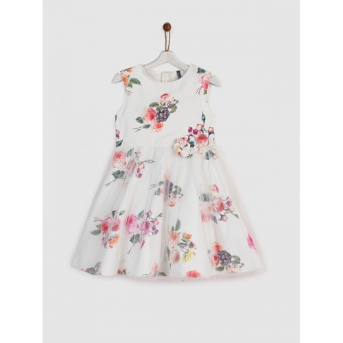 YK Girls Off-White Printed Fit and Flare Dress