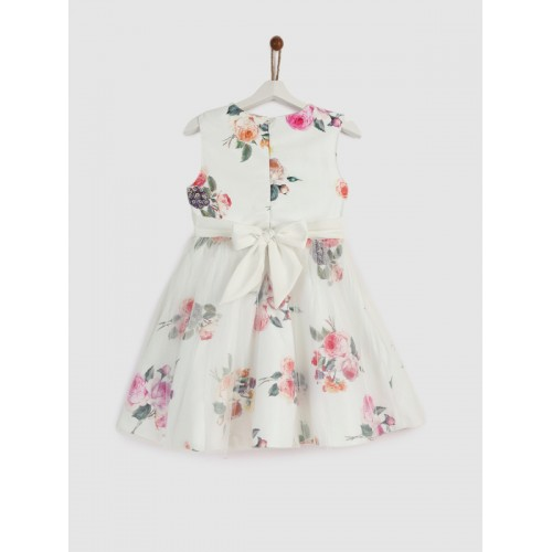 YK Girls White Printed Fit and Flare Dress