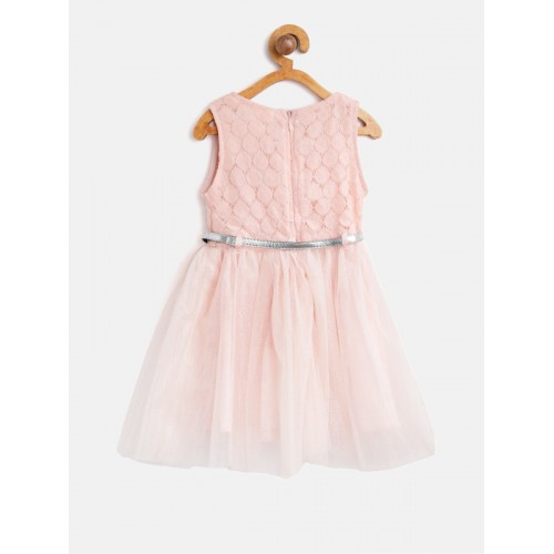 612 league Girls Peach-Coloured Self Design Net Fit & Flare Dress