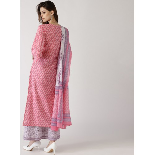 f3892f475e Home · Women · Clothing · Ethnic Wear · Salwar Suits. Libas Pink & White  Cotton Printed Kurta with Palazzo & Dupatta ...