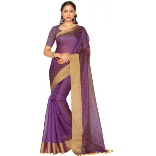 Trendz Style Purple Cotton Silk Saree With Blouse