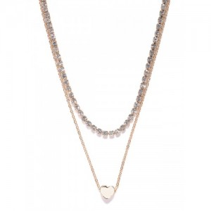 OOMPH Gold-Toned Stone-Studded Layered Necklace