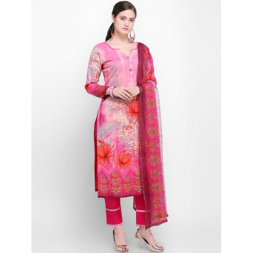 Buy Inddus Pink Cotton Printed Dress Material online  1b55c80aa