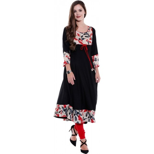 OOMPH! Oomph! Rayon Kurtis for Women Party Wear - A-line with Printed Yoke - Black