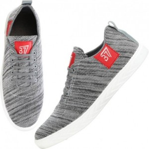 Kraasa Grey Canvas Sneakers For Men