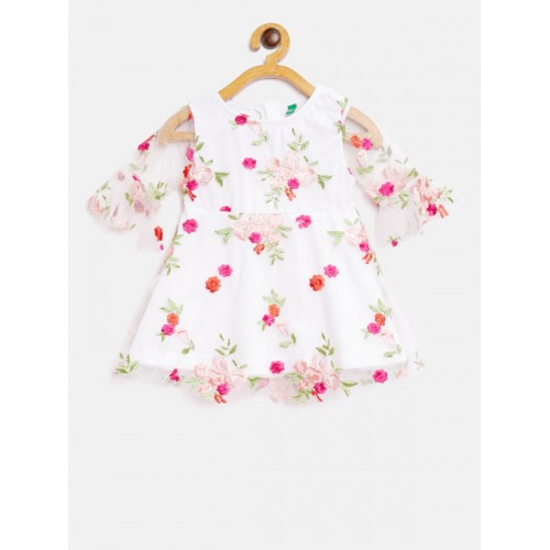 United Colors of Benetton Off-White Embroidered Fit and Flare Dress