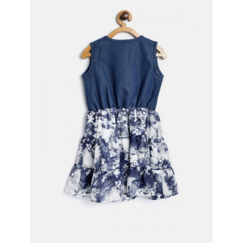 StyleStone  Blue & Off-White Printed Fit & Flare Dress