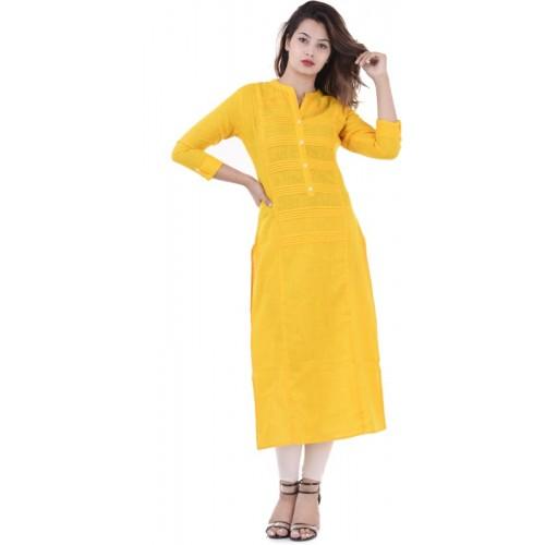 Febia Yellow Cotton Casual Solid Kurti
