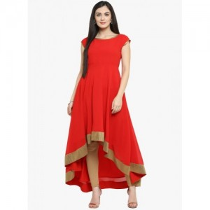 MBE Women's Solid Anarkali Kurta(Red)