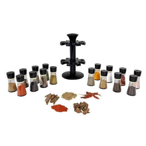 Revolving Plastic Spice Rack 16 Piece Condiment Set
