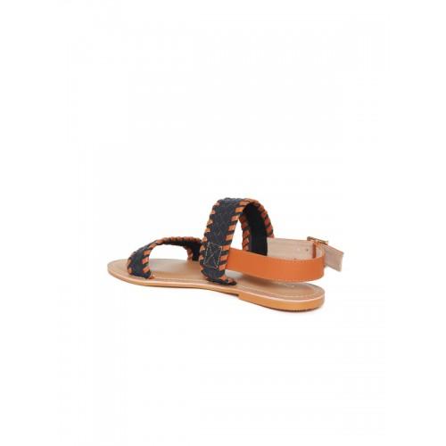 Chumbak Women Tan & Navy Blue Comfort Sandals