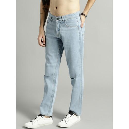 Roadster Men Blue Slim Fit Mid-Rise Slash Knee Jeans