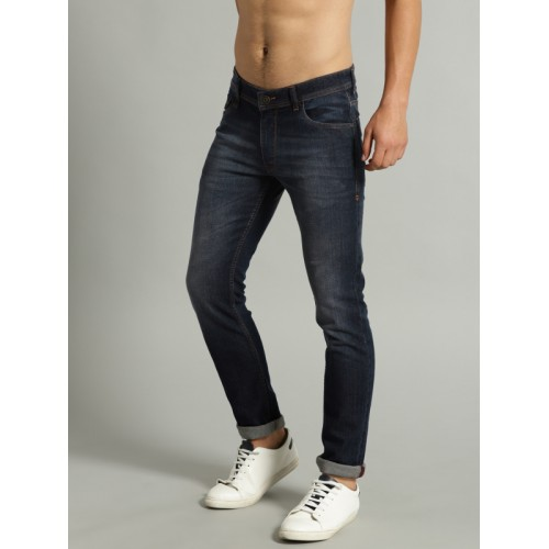 Roadster Men Navy Slim Tapered Fit Mid-Rise Clean Look Stretchable Jeans