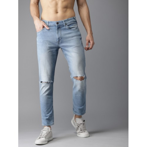HERE&NOW Men Blue Tapered Fit Mid-Rise Slash Knee Stretchable Jeans