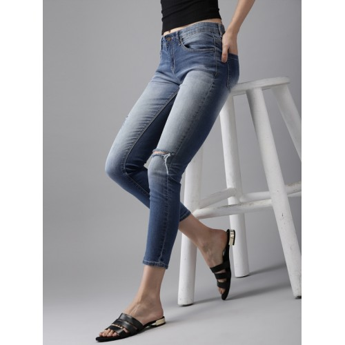 HERE&NOW Women Blue Skinny Fit Mid-Rise Mildly Distressed Stretchable Jeans