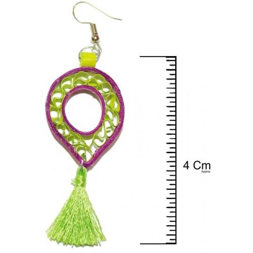 WiWi Yara's Designer Collection Dark Magenta +Lawn Green Colour Silk Thread Shepherd's Hook Dangler Drop Earrings