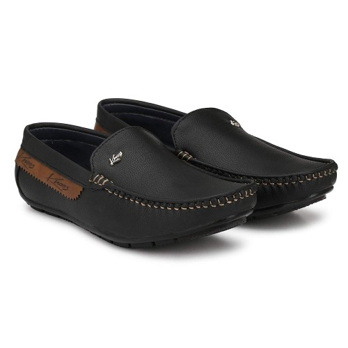 Knoos Black Synthetic Slip On Low Ankle Loafer