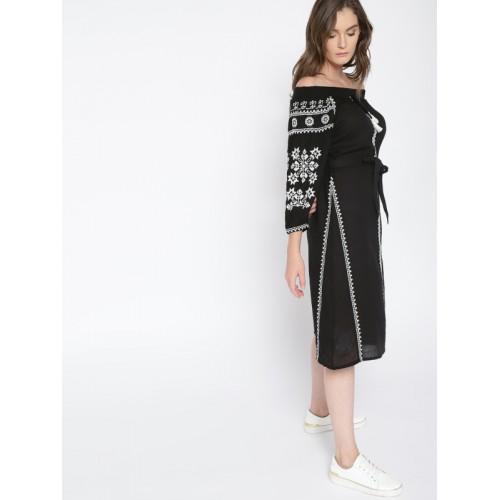 MANGO Women Black Embroidered Off-Shoulder A-Line Dress