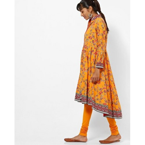 Biba Yellow & Orange Cotton Floral Print Anarkali Kurta with Churidar & Dupatta