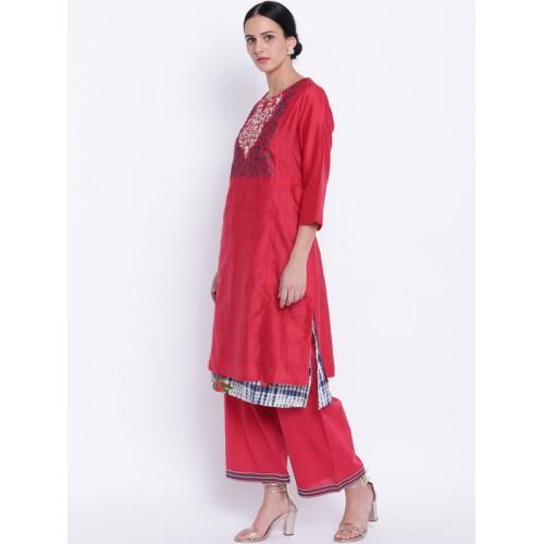 Biba Red & Navy Blue Cotton Blend Yoke Design Layered Kurta with Palazzos & Dupatta