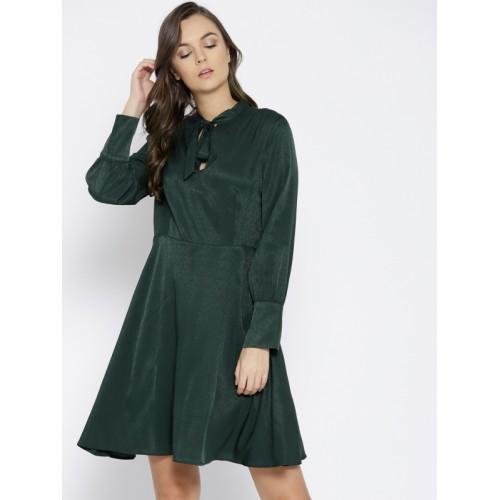 c926086e8293 Buy MANGO Women Green Solid A-Line Dress online | Looksgud.in