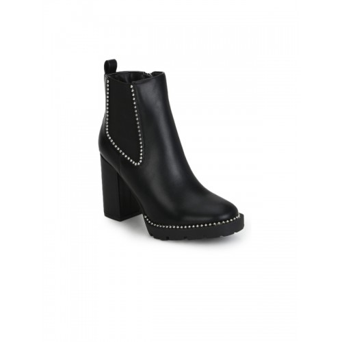 ed88f22246ee Buy Truffle Collection Women Black Synthetic Heeled Boots online ...