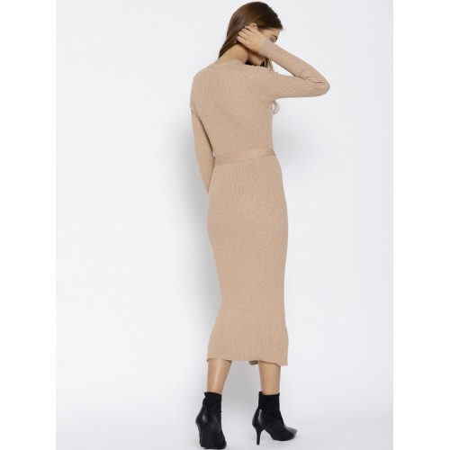 f6422d56721 Buy MANGO Women Beige Ribbed Sweater Dress online