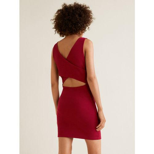 MANGO Women Maroon Solid Cut-Out Detail Bodycon Dress