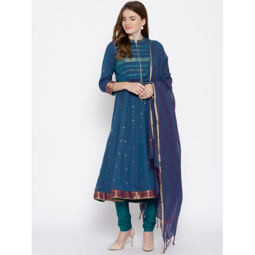 Biba Teal Blue & Purple Cotton Self Design Kurta with Churidar & Dupatta