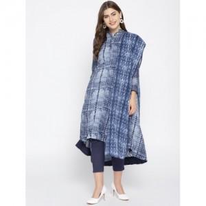 Biba Navy Blue  Cotton & Tencel Printed Kurta with Trousers & Dupatta
