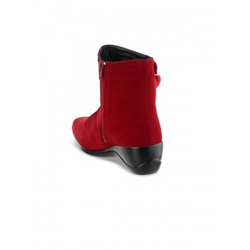 SHUZ TOUCH Red Synthetic Solid Heeled Boots
