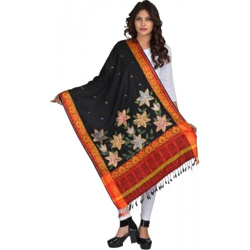 Baisa Wool Self Design, Printed, Woven Women's Shawl(Black)