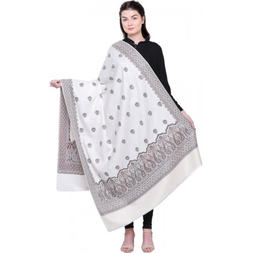 Royal Valley Wool Applique Women's Shawl(White)