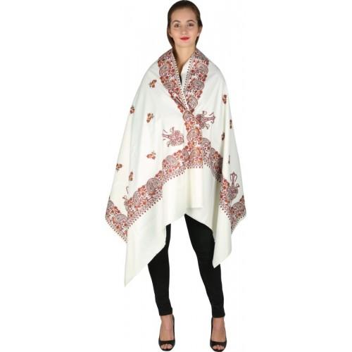 Kashmiri Handloom Shawl Cashmere Floral Print Women's Shawl(White)