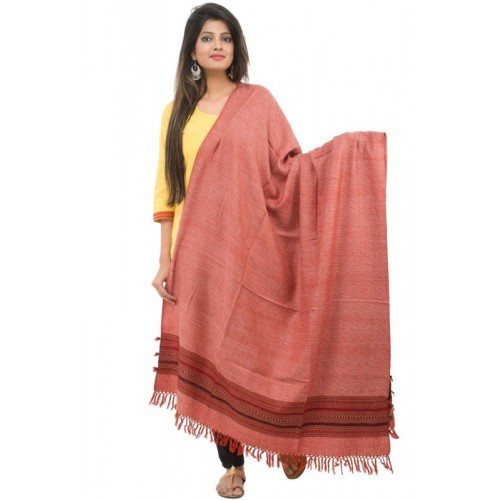 tribes india Wool Solid Women's Shawl(Red)