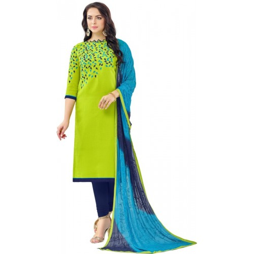 7a1ea0450 Pisara Green   Blue Cotton Embroidered Salwar Suit Dupatta Material