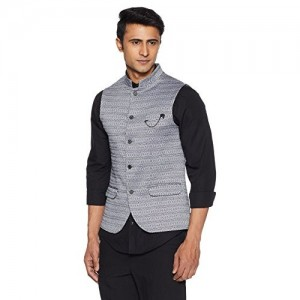 blackberrys Black Cotton Solid Waistcoat