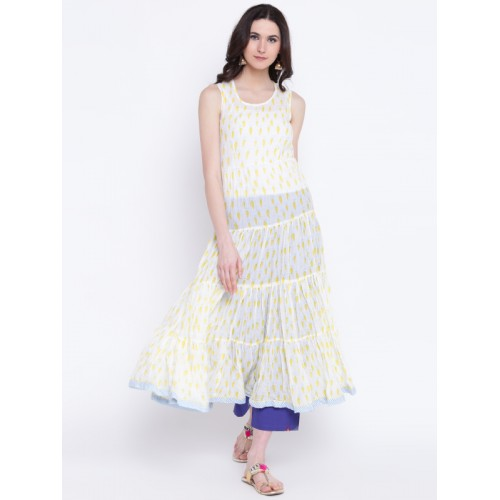 Biba Women Off-White & Yellow Printed Layered Anarkali Kurta