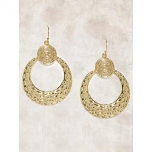 Anouk Muted Gold-Toned Textured Circular Drop Earrings