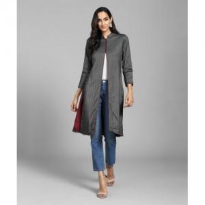 Biba Women Self Design Frontslit Kurta(Grey)