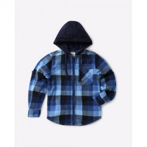 AJIO Checked Hooded Shirt with Patch Pocket