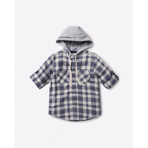AJIO Hooded Checked Shirt with Patch Pockets