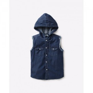AJIO Denim Sleeveless Hooded Shirt